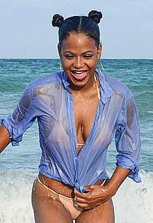Christina Milian in wet bikini and shirt