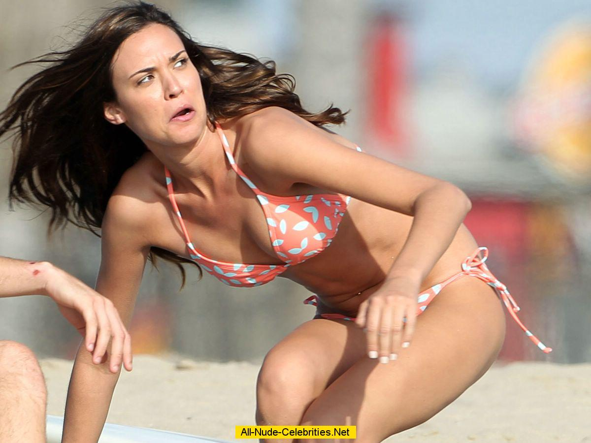 odette annable wearing a bikini on the beach